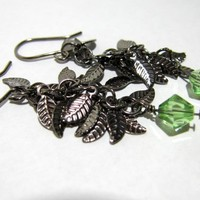 Gunmetal Leaf Earrings With Peridot Swarovski Crystal | Luulla