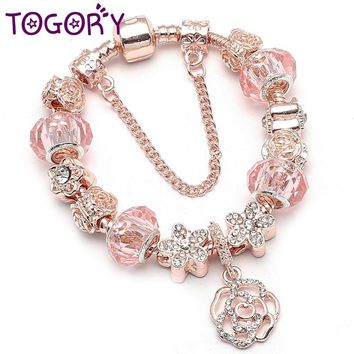 TOGORY Vintage Silver Color Charm Bracelet For Women with Flower Pendant   Rose  Gold Crystal Ball 51fb18b91bcb