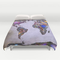Stars world map. Space. Duvet Cover by Guido Montañés