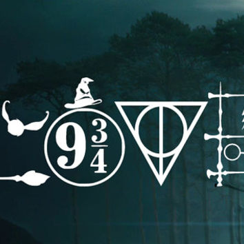 Harry Potter LOVE Symbols Decal -  Car decal Window Sticker - Laptop Sticker Decal