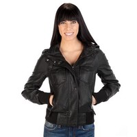 Thread & Supply Juniors Midnight Ride Faux Leather Bomber Jacket at Dry Goods
