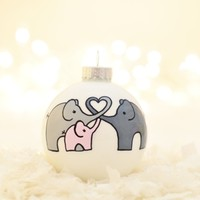 Supermarket: Baby's First Christmas Elephants - Hand-filled & Hand-painted - Customizable colors/text from TwentyTwo Turtledoves