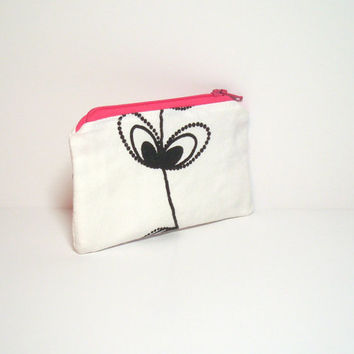 Flower Coin Purse - Pink Black White - Small Change Purse - Teen Coin Purse - Cute Small Bag - Teen Party Favor - Birthday Gift