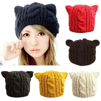 Fashion Lady Girls Winter Warm Knitting Wool Cat Ear Beanie Ski Hat Cap = 1930057028