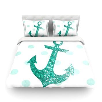 """Nika Martinez """"Glitter Anchor in Mint"""" Teal Featherweight Duvet Cover"""
