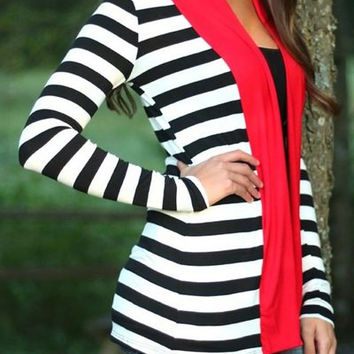 Contrast Color Long Sleeve Striped Cardigan