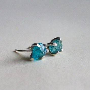 Raw blue Apatite earrings rough gemstone earrings Aqua studs raw stone raw gemstone studs