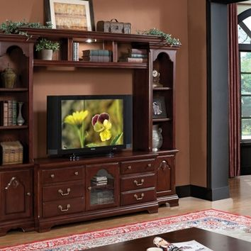 4 pc Hercules cherry finish wood slim profile entertainment center wall unit with TV stand and side towers