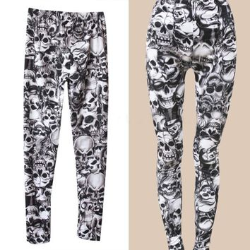 2016 New Arrival Brand Fashion Gothic Punk Rock Skull Printed Leggings For Women Girl Leggings Women's Clothing