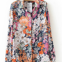 Floral Shirt Collar Long Sleeve Chiffon Blouse