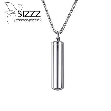 2016 High Polished Stainless Steel Cylinder Memorial Urn Pendant Necklace