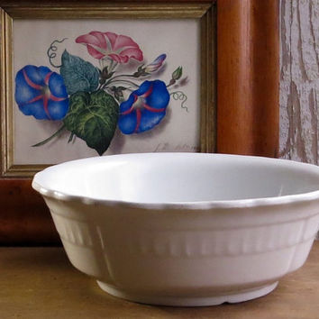 Vintage Ironstone Mixing Bowl, White Iron Stone China, Meakin, England, Potato Bowl Pottery, Serving Dish, Rustic Farmhouse Decor