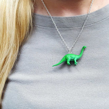 Brontosaurus Necklace Dinosaur Necklace  Great Stocking Stuffer
