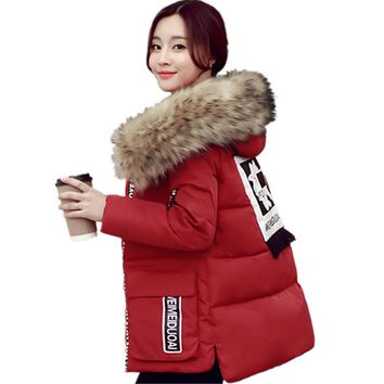 2017 Big Real Fur Women Jacket Winter Raccoon Fur Collar Hooded Warm Slim Thick Parka Printed Pattern Coat Cotton Jacket SUN24