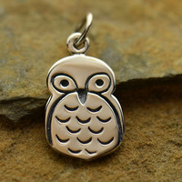 NEW - Little Owl Necklace - Solid 925 Sterling Silver Flat Plate Owl Charm - Free Domestic Shipping