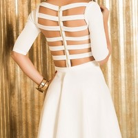 Caged Back Fit and Flare Dress