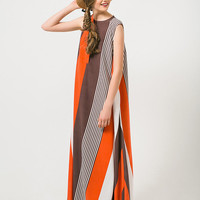 Orange Dress Red Dress Color Block Dress Orange Stripes Dress Maxi Dress A Line Dress Long Dress Red