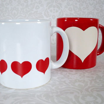 Vintage Heart Coffee Mugs by Waechtersbach - Two Love Heart Coffee Cups - I Love You Mugs
