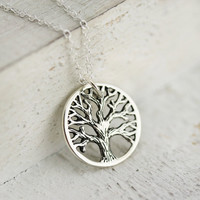 Rustic Tree of Life Necklace -Sterling Silver Tree of Life Pendant -Round Tree of Life -Tree Pendant -Family Tree Necklace -Woodland Jewelry