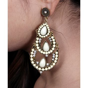 Womens Vintage Teardrop Crystal Chandelier Dangle Pierced Earrings