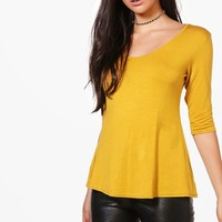 Orla 3/4 Sleeve Wide Hem T-Shirt | Boohoo