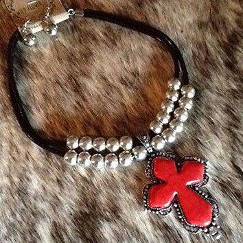 Southwest_Western_Cowgirl__Fashion_Black_Red_Silver_Cross__Necklace_Set FGHTRN# Necklace silver