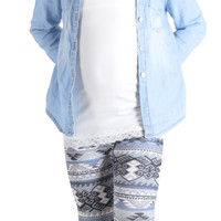 Kids Grey Tribal Print Leggings
