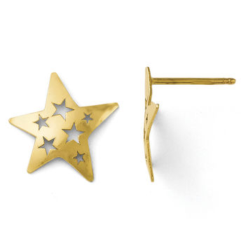 Leslies 14k Polished Fancy Star Post Earrings LE106