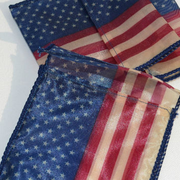 Red White and Blue American Flag wired Ribbon Treasure Bags