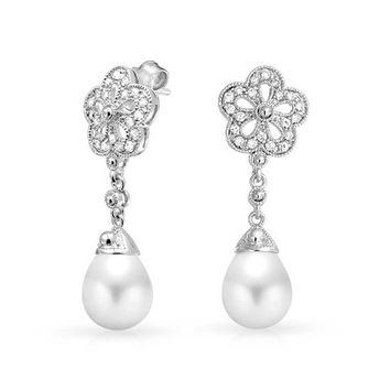 Bridal Floral Filigree Dangle Earring Prom Pageant Silver Plated