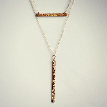 gold filled hammered bar necklaces, layer necklace, bar necklace, minimalist necklace, gold bar necklace