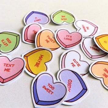 Stickers love conversation heart candy - pack of 15