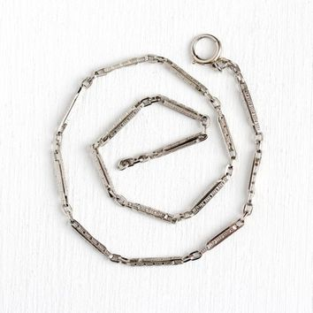 Pocket Watch Chain - Antique Art Deco 10k White Gold Decorative Panel -  1920s Geometric Men's 12 3/4 Inch Bracelet Fine Jewelry Accessory