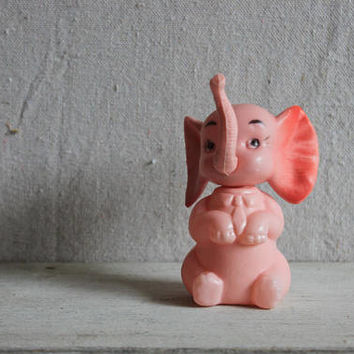 Mid-Century Pink Elephant Cake Topper : vintage