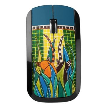 Hide And Seek Whimsical Cat Art Wireless Mouse