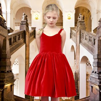 DOLLY by Le Petit Tom ® VELVET THE BALL GOWN dress red
