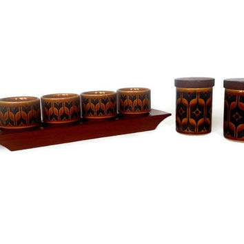 Hornsea Heirloom Egg Cups, Teak Holder, Salt, Pepper Shakers Set