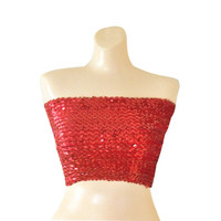 Red Sequin Christmas Top Red Sequin Tube Top Red Christmas Shirt Sparkle Shirt Sparkly Top Red Sequin Shirt 90s Club Wear 90s Rave Top Raver