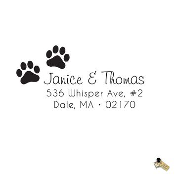 Two Dog Paw Print Lover Return Address Rubber Stamp or Self Inking Monogram Name Initial
