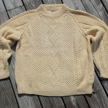 VTG Standun of Ireland 100% Pure Wool Cableknit Fisherman Crew Sweater - Unisex - SZ M / L ?