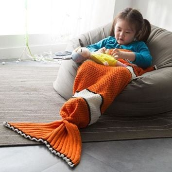 CREY6F Finding Nemo Clown Fish Tail Blanket For Children KID knit b lanket knitted tail costume cosplay