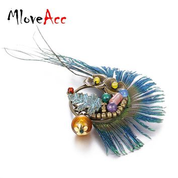 Peacock Feather and Vintage Stone Brooch