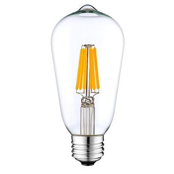 LED Filament Light Bulb Vintage Style Marconi Bulb 6W (60W Equivalent), 700 lumens, 2700K (Warm White), (E26) UL-Listed – (Pack of 2)