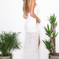 Evie Lace High-Slit Maxi Dress
