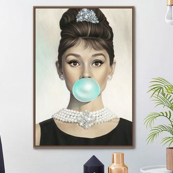 Audrey Hepburn Bubble Wall Art Canvas Painting Nordic Posters And Prints Classical Wall Pictures For Living Room Bedroom Decor