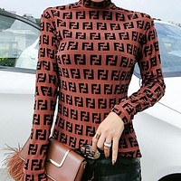 FENDI Hot Sale Popular Women Full F Letter Long Sleeve High Collar Top Base Shirt Dark Brown