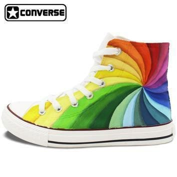 men womens converse all star hand painted shoes design colorful rainbow vortex canvas