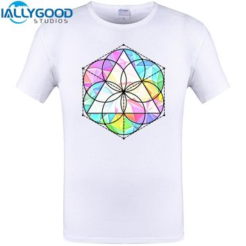 Sacred Geometry with colorfull Dimensional Cube design T-Shirt Summer Men Cotton Cool Printed Tops Plus Size Tee Shirts S-6XL