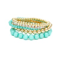Mint Shiny Stone and Metallic Beads Stretch Bracelets Set of 5 | Icing