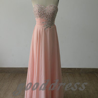 Custom 2013 sexy pink sweetheart crystal beaded ruched chiffon floor length formal bridesmaid dress evening prom party dresses gowns
